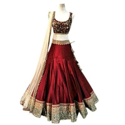 Colour Trendz Nylon, Net, Georgette Embroidered Semi-stitched Lehenga Choli Material
