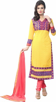 Khusahli Georgette Self Design, Embroidered Dress/Top Material