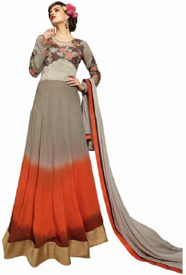Style Mania Georgette Embroidered Semi-stitched Salwar Suit Dupatta Material