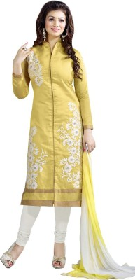 DealSeven Fashion Chanderi Embroidered Semi-stitched Salwar Suit Dupatta Material