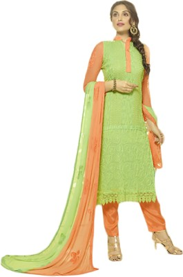 Shahlon Chiffon Embroidered Salwar Suit Dupatta Material