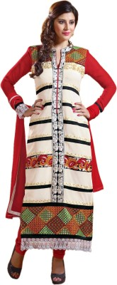 Hexo Georgette Self Design Semi-stitched Salwar Suit Dupatta Material
