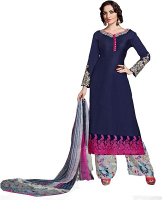 M Pankaj Cotton Embroidered Semi-stitched Salwar Suit Material