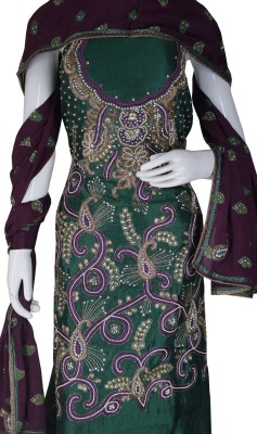 Haleema Crafts Silk Embroidered Salwar Suit Material