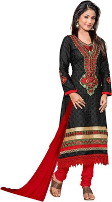 Shree Vardhman Cotton Embroidered Semi-stitched Salwar Suit Dupatta Material