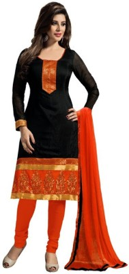 Pickurs Chanderi Embroidered Semi-stitched Gown, Salwar and Dupatta Material