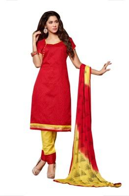 Ligalz Chanderi Printed Semi-stitched Salwar Suit Dupatta Material