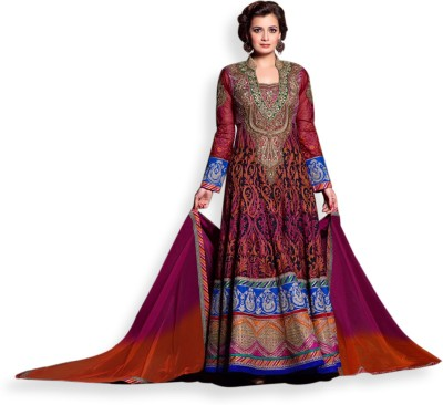 Maskeen Georgette, Cotton Polyester Blend Embroidered Semi-stitched Salwar Suit Dupatta Material