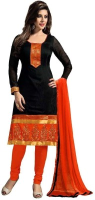 Loot Lo Creation Cotton Embroidered Semi-stitched Salwar Suit Material