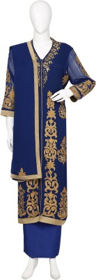 Sudhir Sarees Georgette, Crepe Embroidered Semi-stitched Salwar Suit Dupatta Material