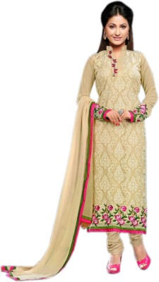 Fashion Spot Georgette Embroidered Semi-stitched Salwar Suit Dupatta Material