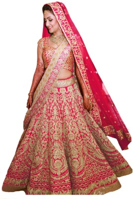 Fabron Cotton Polyester Blend Embroidered, Embellished Semi-stitched Lehenga Choli Material