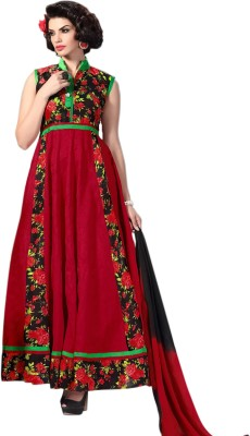 Ladyview Silk Embroidered Semi-stitched Salwar Suit Dupatta Material