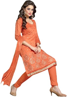 F3 Fashion Chanderi Self Design Semi-stitched Salwar Suit Dupatta Material