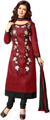 Inaaya Collections Cotton Silk Blend Embroidered Salwar Suit Dupatta Material