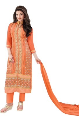 Cilver Fashion Georgette Embroidered Semi-stitched Salwar Suit Material