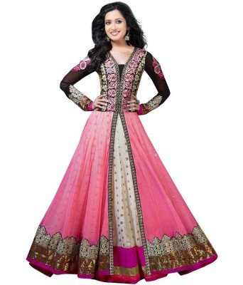AahnaFashion Georgette Embroidered Semi-stitched Salwar Suit Dupatta Material