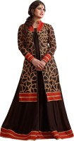 Shoponbit Georgette Embroidered Semi-stitched Salwar Suit Material