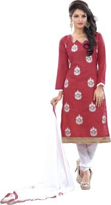 Fabgruh Silk Self Design, Embroidered Salwar Suit Dupatta Material