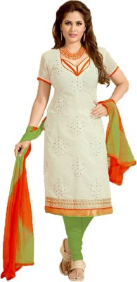Kanchan Designs Chanderi, Cotton Self Design Salwar Suit Dupatta Material