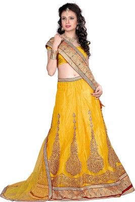 Aarna's Collection Net Solid Semi-stitched Lehenga Choli Material