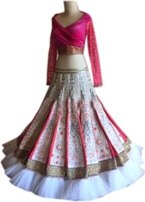 mGm Creation Brocade, Art Silk, Organza Self Design Semi-stitched Lehenga Choli Material