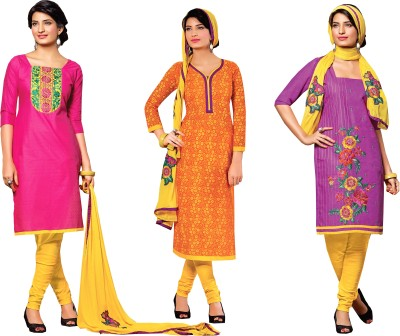 Manthan Polyester Embroidered Salwar Suit Dupatta Material