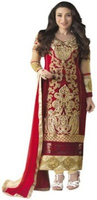 DWM Georgette Embroidered Semi-stitched Salwar Suit Material