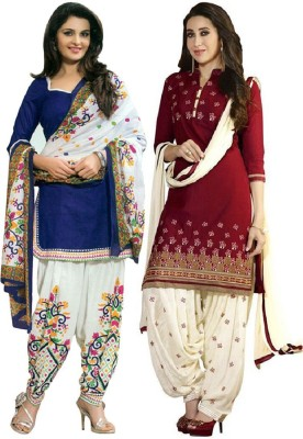 Style Mania Cotton Embroidered Salwar Suit Dupatta Material