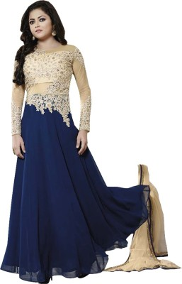 KFHub Georgette, Net, Chiffon Embroidered Semi-stitched Salwar Suit Dupatta Material
