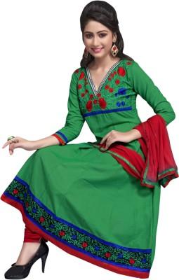 Manvaa Cotton Self Design, Embroidered Semi-stitched Salwar Suit Dupatta Material