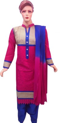 Shribalaji Cotton Embroidered Semi-stitched Salwar Suit Dupatta Material