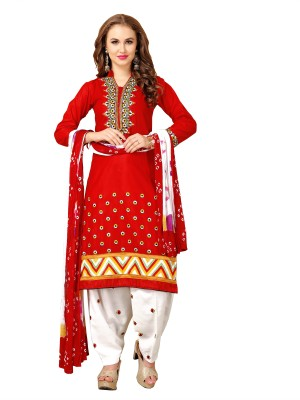 Elevate Women Cotton Embroidered Semi-stitched Salwar Suit Dupatta Material at flipkart
