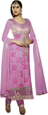 Ladyview Georgette Embroidered Semi-stitched Salwar Suit Dupatta Material