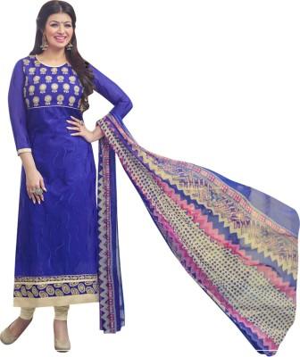 Shoponbit Chanderi Embroidered Semi-stitched Salwar Suit Dupatta Material