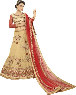 Manvaa Silk Embroidered Semi-stitched Lehenga Choli Material