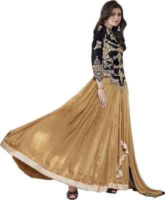 Fashion Forever Crepe Embroidered Semi-stitched Salwar Suit Dupatta Material