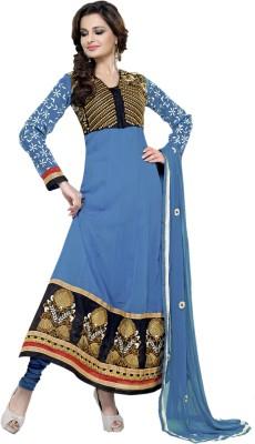 ABIDA Chiffon Embroidered Semi-stitched Salwar Suit Dupatta Material