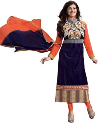 Vivacity Cotton Embroidered Semi-stitched Salwar Suit Dupatta Material