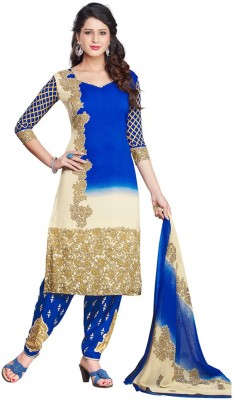 Salwar Studio Synthetic Floral Print, Checkered Salwar Suit Dupatta Material