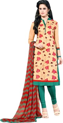 FR Chanderi Self Design, Embroidered Semi-stitched Salwar Suit Dupatta Material