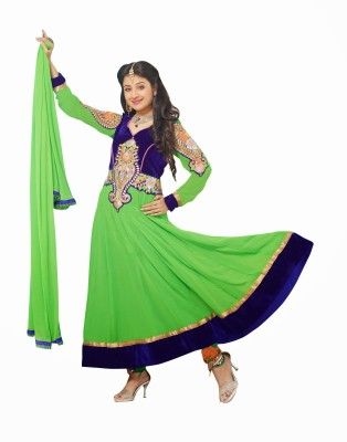 MAGNET Georgette Embroidered Semi-stitched Salwar Suit Dupatta Material