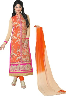 Araja Georgette Embroidered Semi-stitched Salwar Suit Dupatta Material