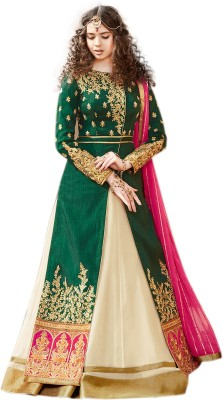 Fabliva Silk Embroidered Semi-stitched Salwar Suit Dupatta Material