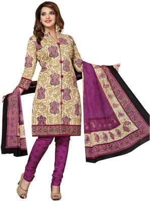 Dertaste Cotton Floral Print Semi-stitched Salwar Suit Material