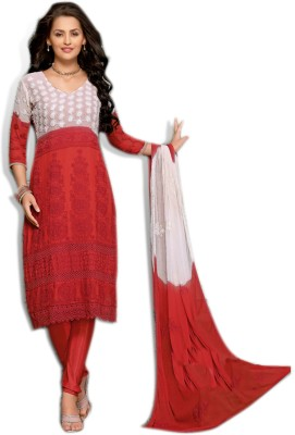 Khantil Chiffon Self Design Semi-stitched Salwar Suit Dupatta Material at flipkart