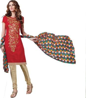 Shree Ganapati Textile Chanderi Embroidered Salwar Suit Dupatta Material