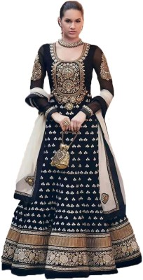 Mannat Art Georgette Embroidered Semi-stitched Salwar Suit Dupatta Material