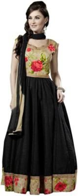Suitevilla Silk Floral Print Semi-stitched Salwar Suit Dupatta Material