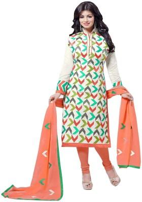 Akshaya Fashons Chanderi Embroidered Semi-stitched Salwar Suit Dupatta Material